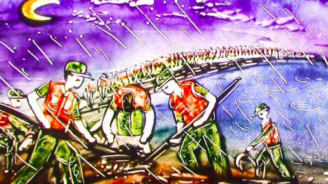 铁路职工1周时间画11幅抗洪沙画:给最可爱的人