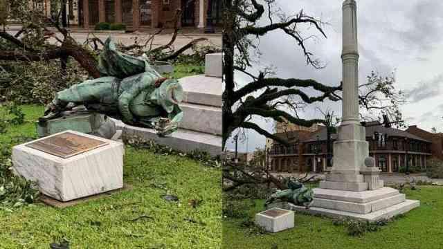 大自然的决定?美网友请愿推倒铜像未果,现在飓风把它吹倒了