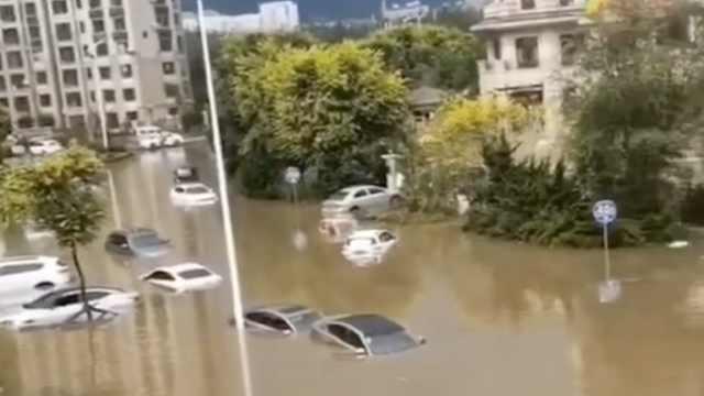 大连暴雨多车被淹有人被冲走,女孩吓哭交警背上公交车避险