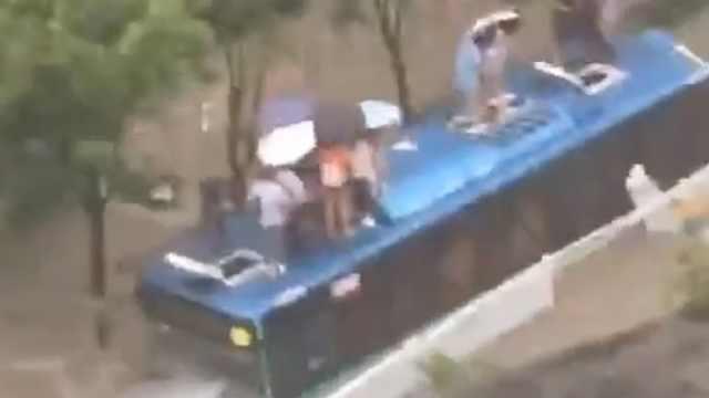 深圳暴雨道路被淹,20多名乘客爬公交车顶避险