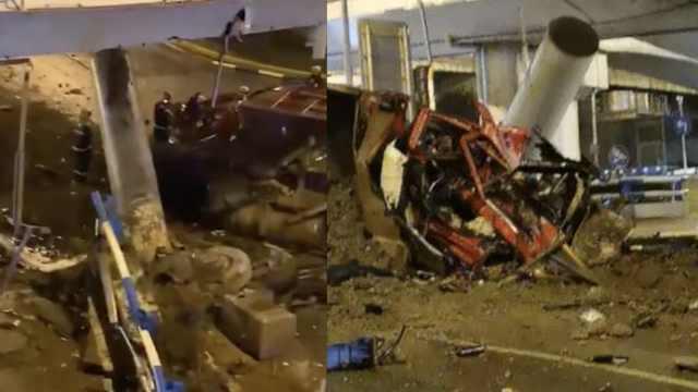 重庆一货车司机撞上出租车和吊车,当场死亡,天桥桥墩受损