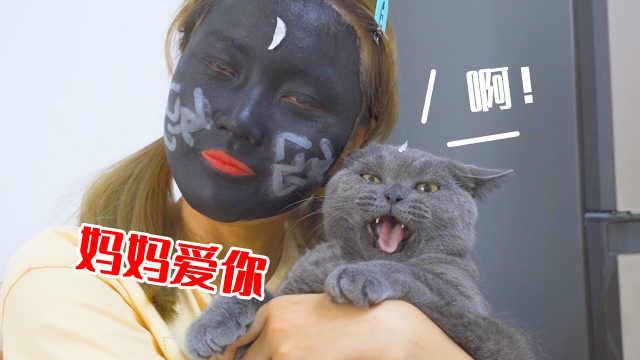 主人把脸涂黑去见猫,猫会有什么反应?猫:吓人!