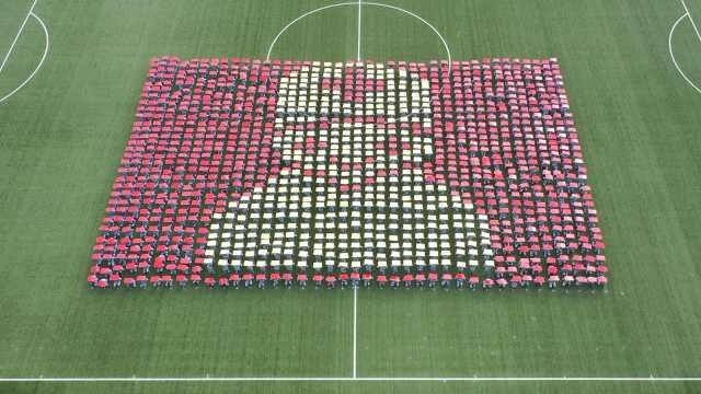 武汉高校军训结业典礼,1200名学生摆方阵致敬抗疫英雄