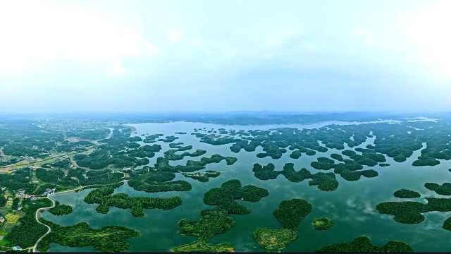 """最新航拍!亚洲第一大人工土坝筑成的""""千岛湖"""""""