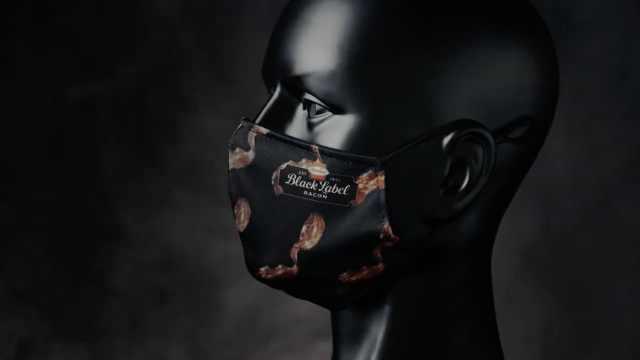 """美国一公司推出培根味口罩:""""革命性的技术""""用呼吸享受肉香"""