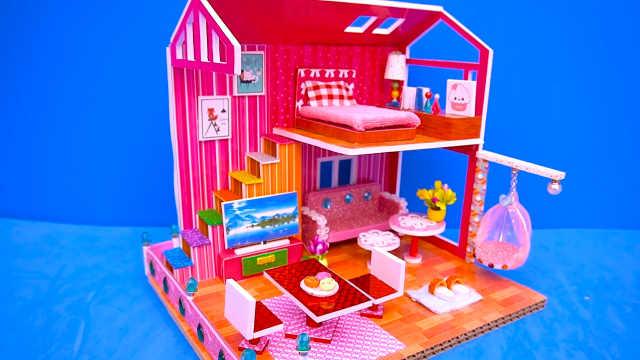 DIY迷你娃娃屋,小仙女的粉色梦幻别墅