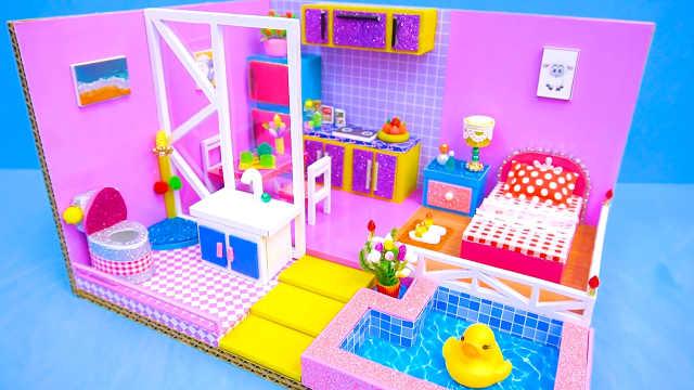 DIY迷你娃娃屋,小仙女的粉色泳池豪宅