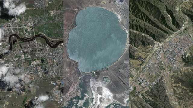 卫星视角下的北方小城,山河纵横光景交错