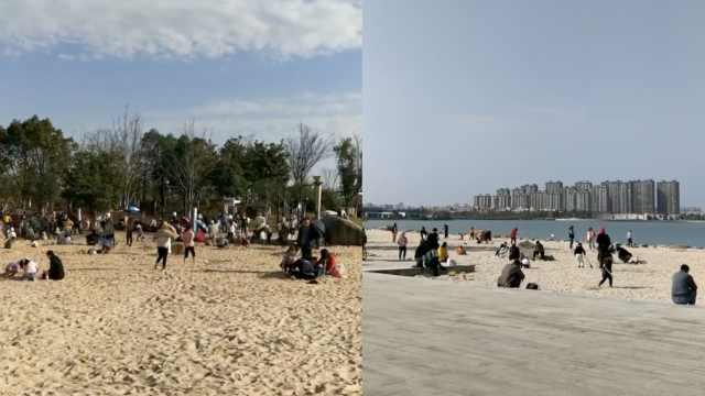 蓝天碧水和沙滩更配哦,浙江海宁为市民建人工沙滩受追捧
