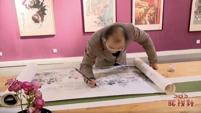 苏州画家创作20多米江南水墨长卷