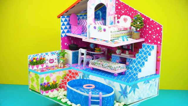 DIY迷你娃娃屋,三层设计的爱心别墅