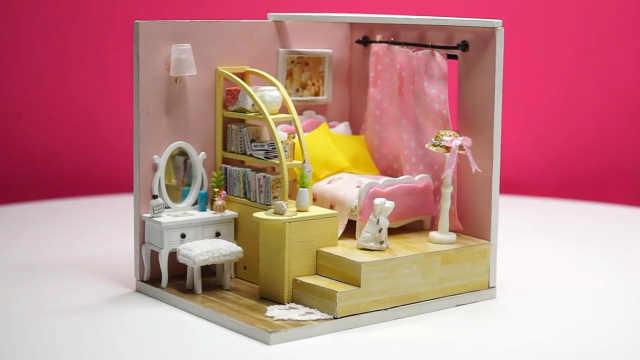 DIY迷你娃娃屋,温馨的粉色单身公寓