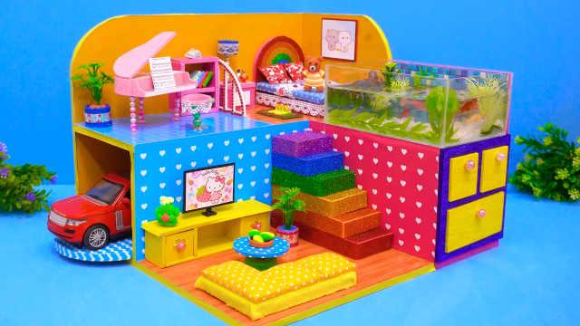 DIY迷你娃娃屋,淡黄色的水族馆别墅