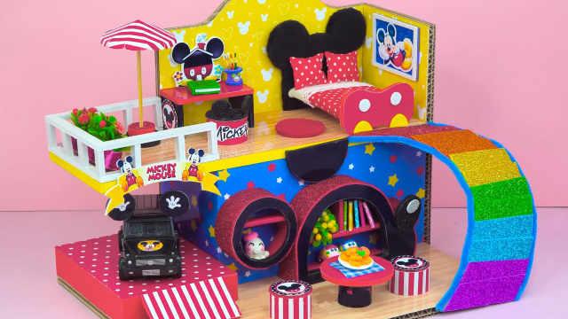 DIY迷你娃娃屋,米老鼠头像的彩虹别墅