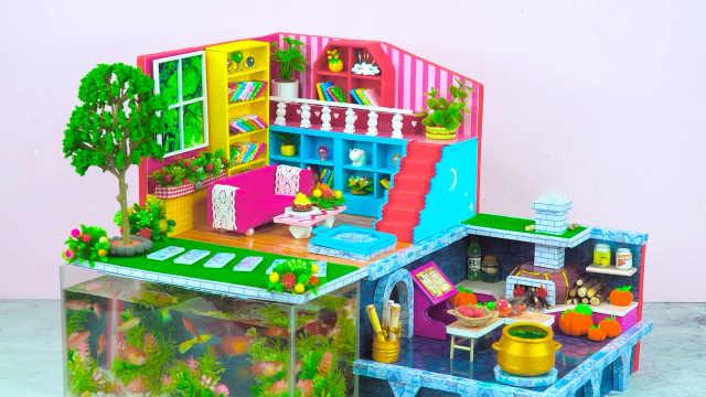 DIY迷你娃娃屋,小公主的魔法别墅