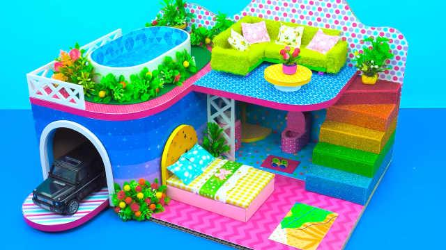 DIY迷你娃娃屋,楼顶泳池设计的星星别墅