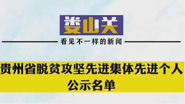 贵州省脱贫攻坚先进集体先进个人公示名单