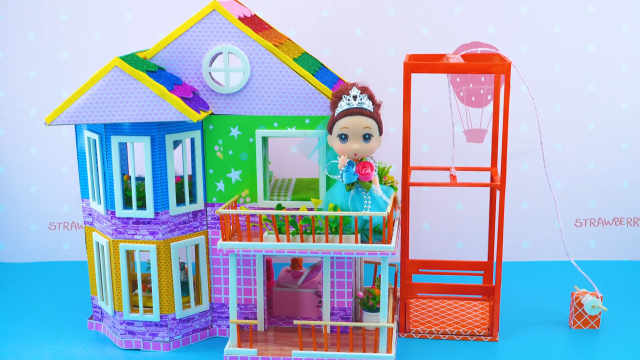 DIY迷你娃娃屋,芭比公主的电梯彩虹别墅