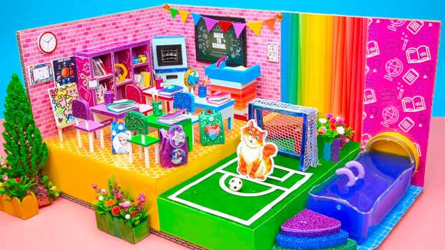 DIY迷你娃娃屋,芭比娃娃的足球场教室
