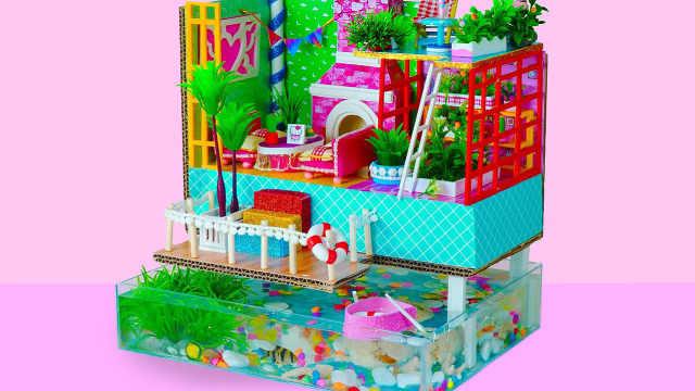 DIY迷你娃娃屋,鱼塘上的花园别墅