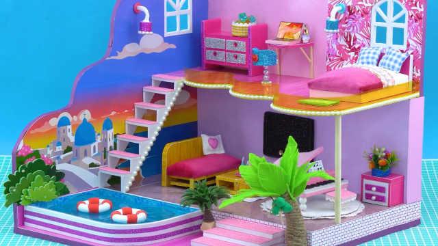 DIY迷你娃娃屋,沙漠中的泳池别墅