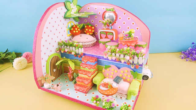 DIY迷你娃娃屋,草莓主题的大别墅