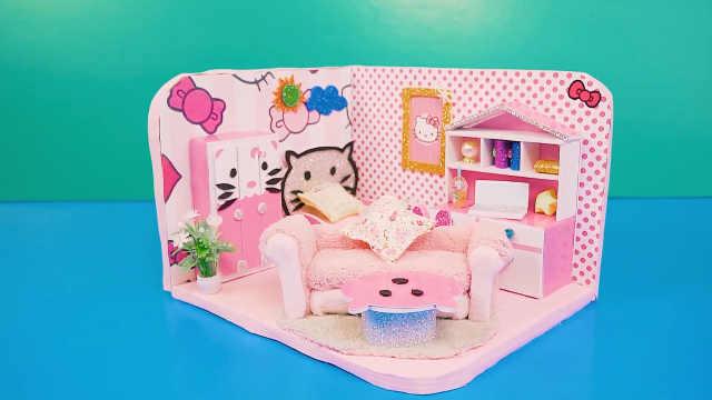 DIY迷你娃娃屋,凯蒂猫主题的粉色客厅