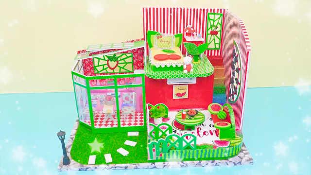 DIY迷你娃娃屋,凯蒂猫的西瓜小别墅