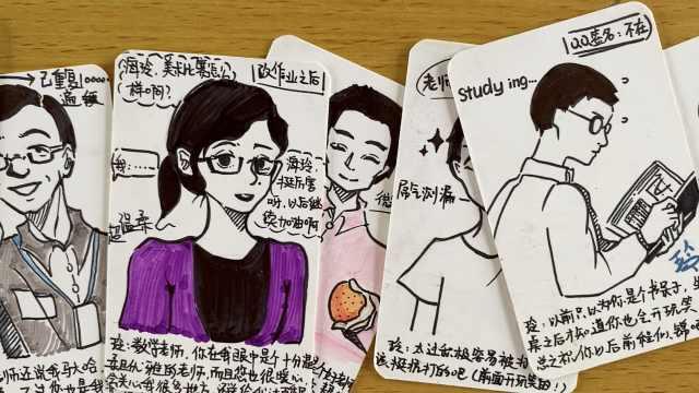 初三美术零基础女生为50名师生手绘毕业贺卡:全部私人定制