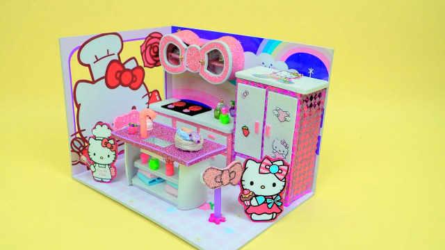 DIY迷你娃娃屋,凯蒂猫的蝴蝶结厨房