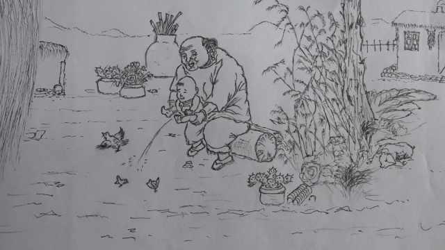 大爷放羊40多年坚持自学画画:小学没读完,偶像是齐白石