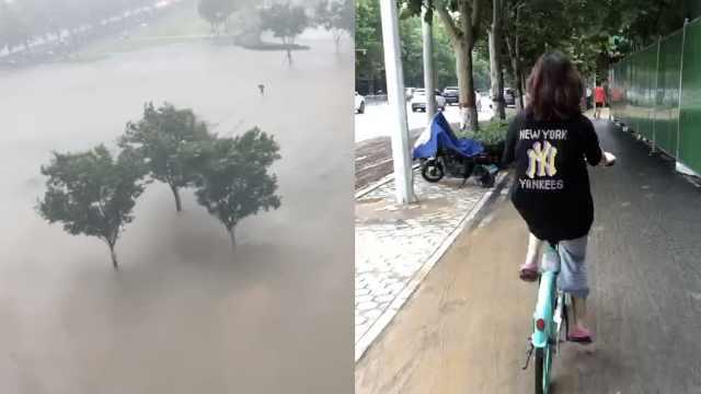 郑州女孩骑单车20公里回家:穿铁路踏淤泥,走了3个小时