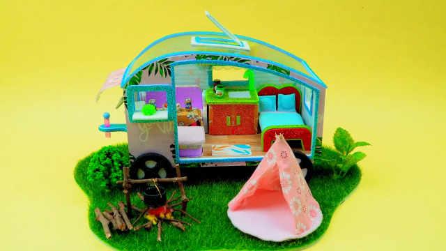 DIY迷你娃娃屋,野外露营的拖挂式房车