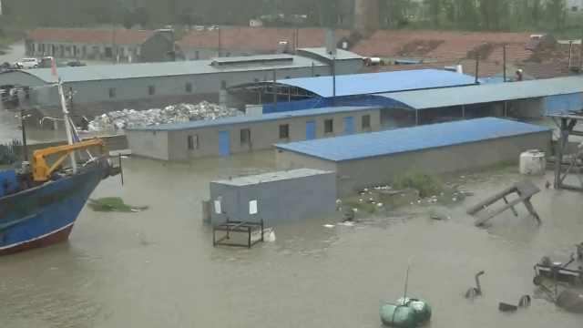 实拍台风烟花来袭,江苏射阳部分道路被淹,海洋垃圾被吹回