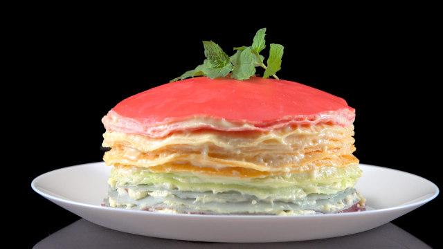 低脂彩虹千层蛋糕,甜爆花心射手座