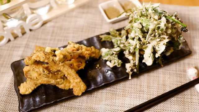 炸香椿鱼和炸花椒芽,小时候的味道