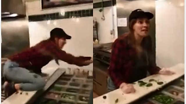 与顾客起争执,服务员向餐里吐口水