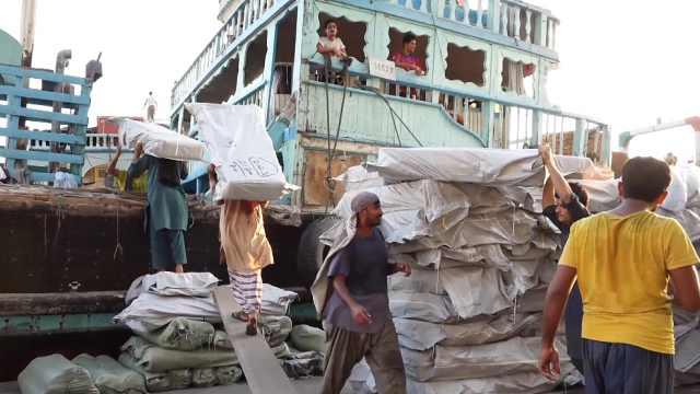 伊拉克青年为生计在码头艰辛劳作
