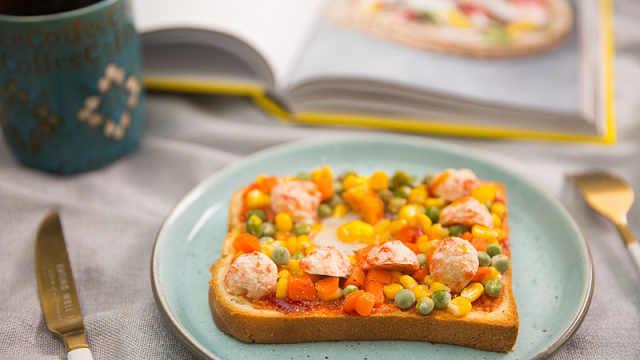 虾丸杂蔬吐司小披萨,元气一整天