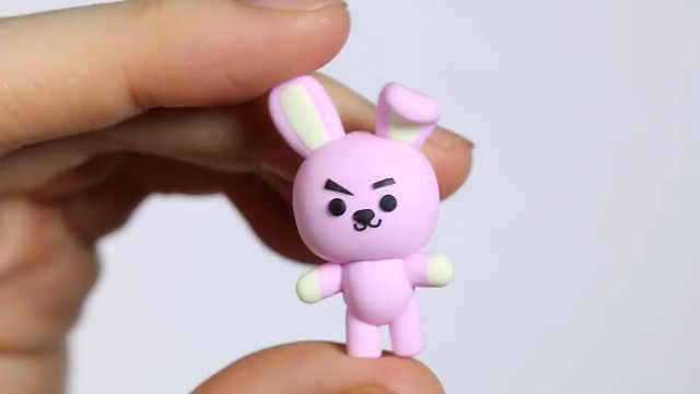 超轻粘土DIY粉色小兔子