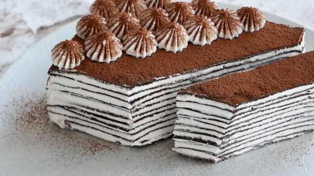 自制可可千层蛋糕,不用烤箱的甜品