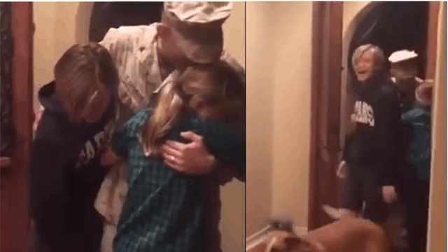 士兵出勤9个月,回家给孩子们惊喜