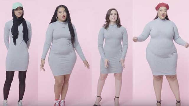 不同身材女性试穿紧身裙,自信最美
