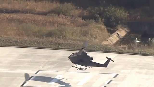 韩陆军飞机坠落:升空1米旋翼飞出
