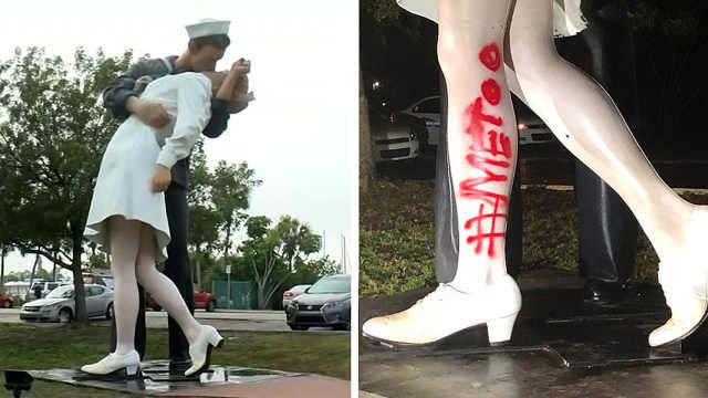 佛罗里达胜利之吻雕像被涂鸦