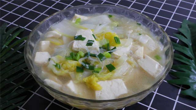 白菜粉丝豆腐汤,清淡美味又解腻