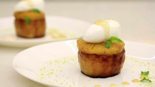 焦糖凤梨苹果,在家做餐厅摆盘