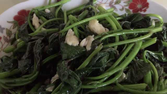 菜园现摘现炒红薯叶,火越大菜越香