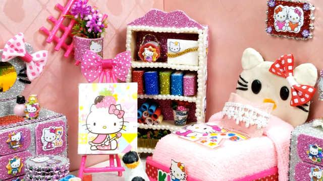 DIY煎蛋一样的凯蒂猫娃娃屋